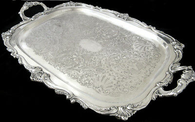 "24"" Outstanding Antique English Silver Plate Footed Tea Set Serving Tray Platter"