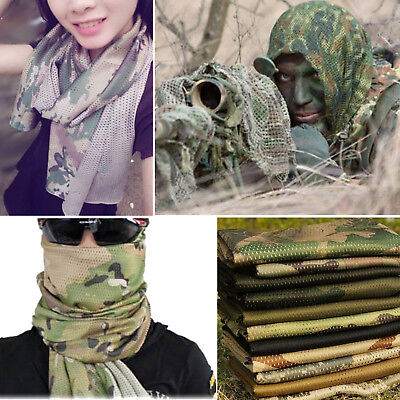 Tactical Military Camp Army Camouflage Scarf Neck Wraps Face Veil Net Mesh Masks