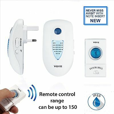 150M Range TWIN UK PLUG IN Wireless Cordless Digital Chime Door Bell 38 Melodies