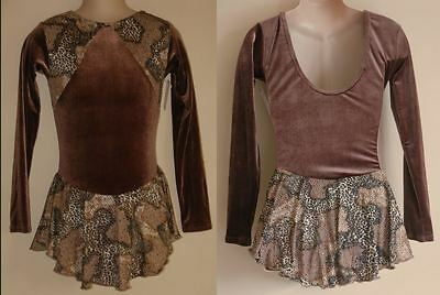 NWT 8y CHILD Ice Roller Skating Dress Brown & Animal Print Dance Costume Leotard