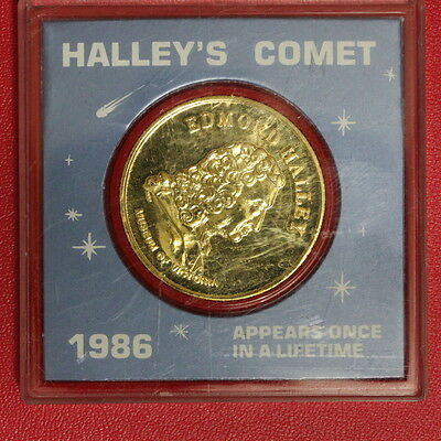 1986 Australia Halley's Comet Museum of Victoria 24 ct Gold Plated Medal  (SC9C1