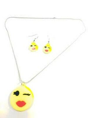 Winking Emoji Emoticon Necklace Matching Earrings Set Jewellery Girls Childrens