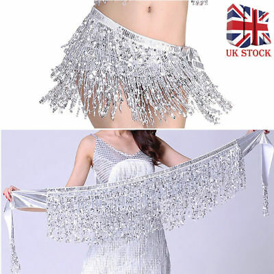 Belly Dance Dancer Costume Sequin Tassel Fringe Hip Scarf Belt Waist Wrap Skirt