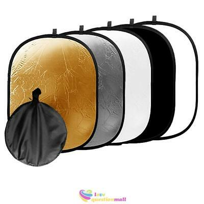 Photography 5 in 1 Photo Studio Collapsible Reflector Light Diffuser 90x120cm UK