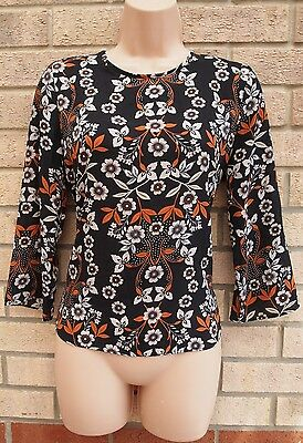 Primark Black Terracotta White Floral Zip Back Sleeve Baggy Blouse Top 8 S