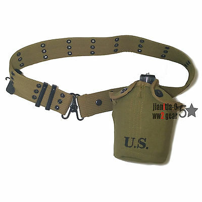 Replica WWII WW2 1910 M1 US Army Canteen and Belt Full Set Soldier Equipment