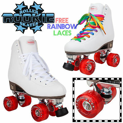 Rookie Women's Classic Leather Quad Roller Skates Disco Kids Girls Roller Derby
