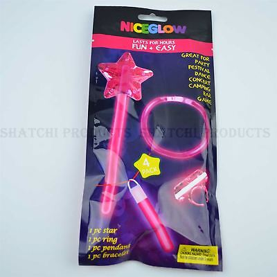 4pk Halloween Glow Stick Pink Coloured for Kids Fancy Dress Accessories