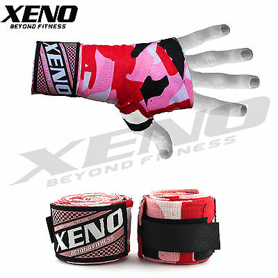 Boxing MMA UFC HAND WRAPS Wrist Guards cotton Bandages red straps kick gloves