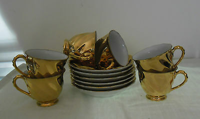 Demitasse Gold Coffee Cups And Saucers X 6 : Eagle Brand Japan