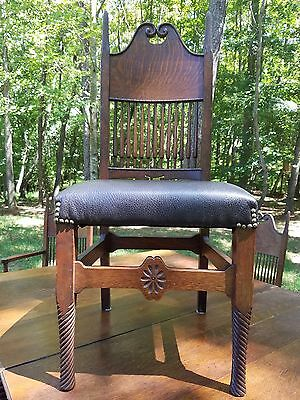 Antique table and 6 matching chairs with twist legs