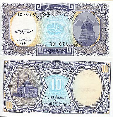 EGYPT 10 Piastres Banknote World Paper Money aUNC Currency Pick p189a Spinx