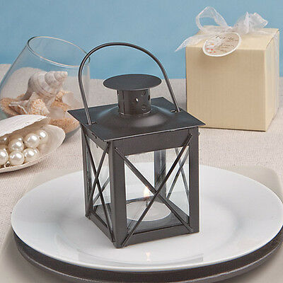2 x Black Metal Lantern Tea Light Candle Holders
