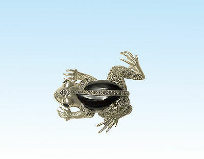 Sterling Silver Marcasite Frog With A Black Onyx Body And Eyes