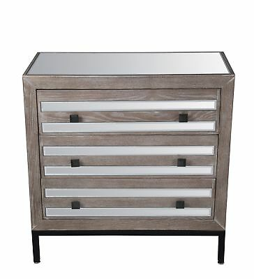 GwG Outlet 3 Drawer Accent Stand in Mirrored 88894