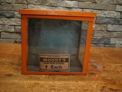 Moody's Home Made Cookie Box Counter Display Glass/Metal 1 Cent Huntington