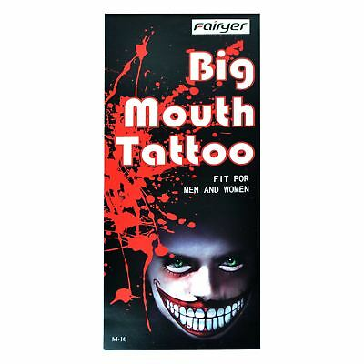 Big Mouth Temporary Tattoo Halloween Dress Up Costume Party Zombies  M-10