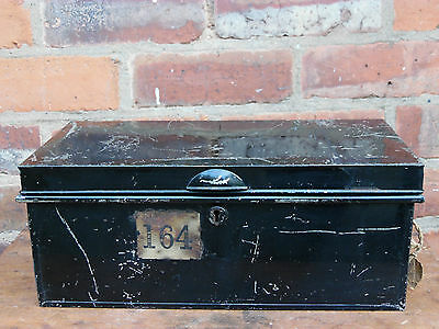 Vintage Metal Deed Document Box Storage Tin Chest with Key
