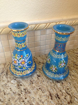 One Pair HOOKAH GLASS BASE FROM PERSIAN KING (Shah) Of IRAN Antiques MARKET