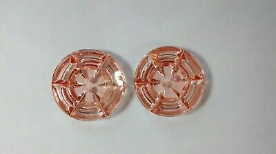 Pair Vintage Pink Glass Buttons Sewing Notions