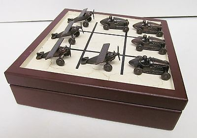 Old Century Brass Tin Metal Look Race Car Airplane Wood Checker Box Set 2003