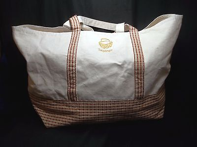 Longaberger X Large Strong Canvas Overnight Country Decorative Big Shopping Tote