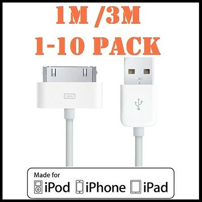 1M 3M 1-10Pack USB Data Charger Sync Cable for iPhone 4S 4 3 iPod iPad 2 3 White