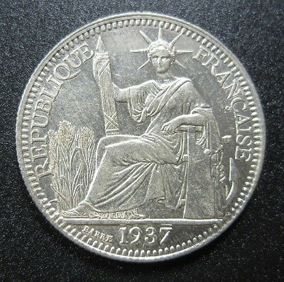 French Indo China 10 Cent 1937 Silver Gem Bu #m Vietnam Cambodia Laos Fic Coin