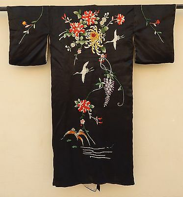 Antique Chinese Silk Hand Embroidered Robe Kimono Robe Textile #101
