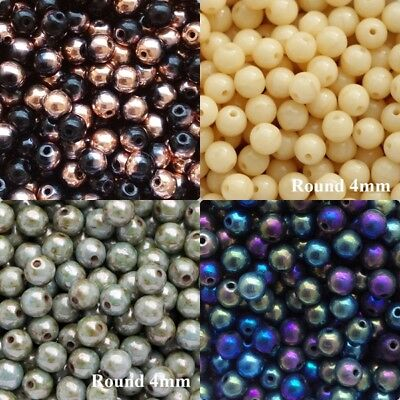 Round Beads 4mm 100pcs Czech Glass Smooth round Pressed Druk Tiny Beads 50 COLOR