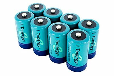8 pcs of Tenergy D Size 10000mAh High Capacity High Rate NiMH Rechargeable Ba...