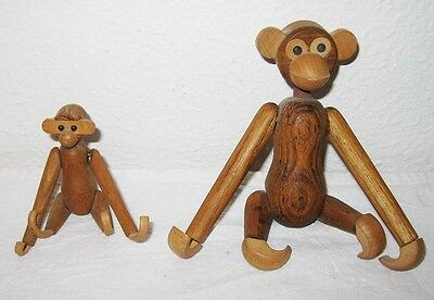 Vintage 2 Jointed Wooden Hanging Monkey Chimp Mid Century Japan