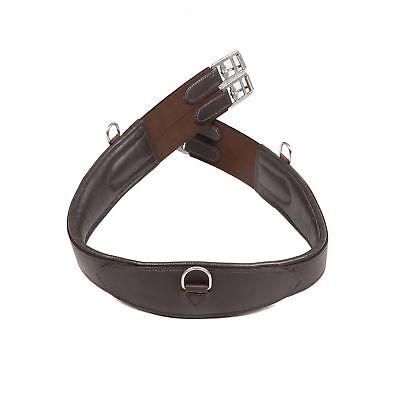 Strong Quality Padded Elasticated Anti Chafe Stitched Leather Girth Black Brown