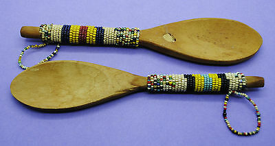Pair of nice wooden Zulu tribe decorated spoons 18th century AD