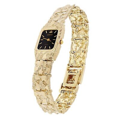 14K Geneve Women's Solid Yellow Gold Nugget Style Geneve Watch with Diamond 7""