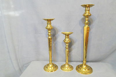 "Brass Candlestick Holders Set of 3 Made in India 17 1/2"" T 14 3/8"" T 10 5/8"" T"