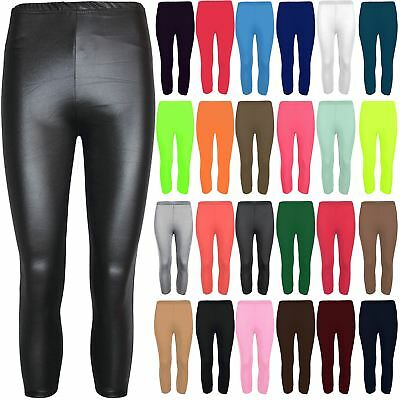 Womens 3/4 Length Plain Basic Short Jeggings Leggings Ladies PVC Viscose Pants