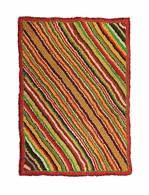 "Vintage Art Deco Era Hand-Made Colorful Wall Diagonal Striped Hook Rug 22"" X 31"""