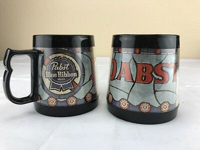 Vintage Pabst Blue Ribbon Plastic Thermo-Sew Coffee Mugs- Set Of 2