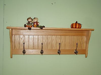 "36"" Solid Oak Coat Rack With Antique English Brass Hooks"