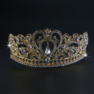 Gold Princess Crown Wedding Tiara Comb Rhinestones Crystal Bridal Pageant US
