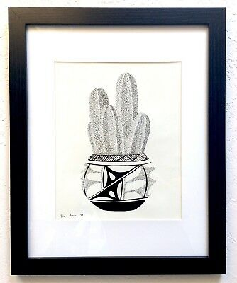 Mexican Fencepost - Framed Original Drawing - Cactus Desert Southwest Art