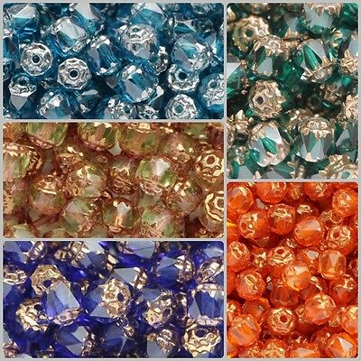 6mm Cathedral Beads 50pcs Czech Glass Faceted Fire Polished Beads