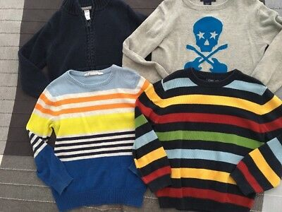 Cherokee H & M Old Navy Boys Sweater Lot Of 4 Size 5 5T Striped Skull Zip Crew