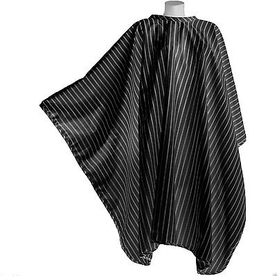 Pro Dmi Vintage Barbering Cape Black Pinstripe Polyester With Hook Barbers Use