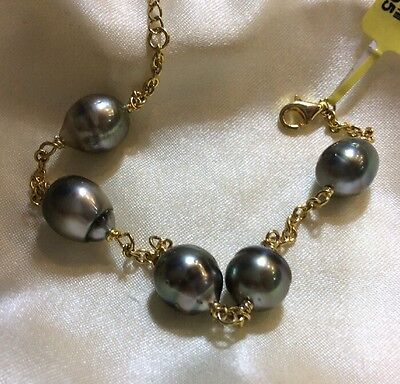 27 Ct, Tahitian Pearl Bracelet, 14K Gold Overlay Sterling Silver, Adjustable