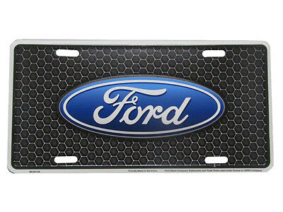 "Ford Detailed Black Honeycomb Background 6""x12"" Aluminum License Plate Tag"