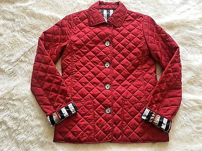 New BURBERRY Children Kids Girls Red Quilted Classic Jacket, Size 12 Y