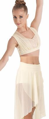 Dance Costume Small Adult Ivory Sequin Sheer 2pc Lyrical Ballet Solo Competition