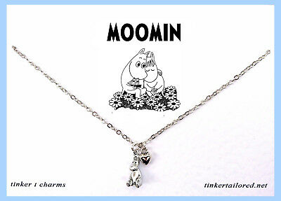 Cute Small Silver Tone Moomin Heart Charm Necklace Chain Harajuku  Kawaii